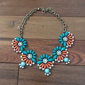 Aqua and orange fashion necklace